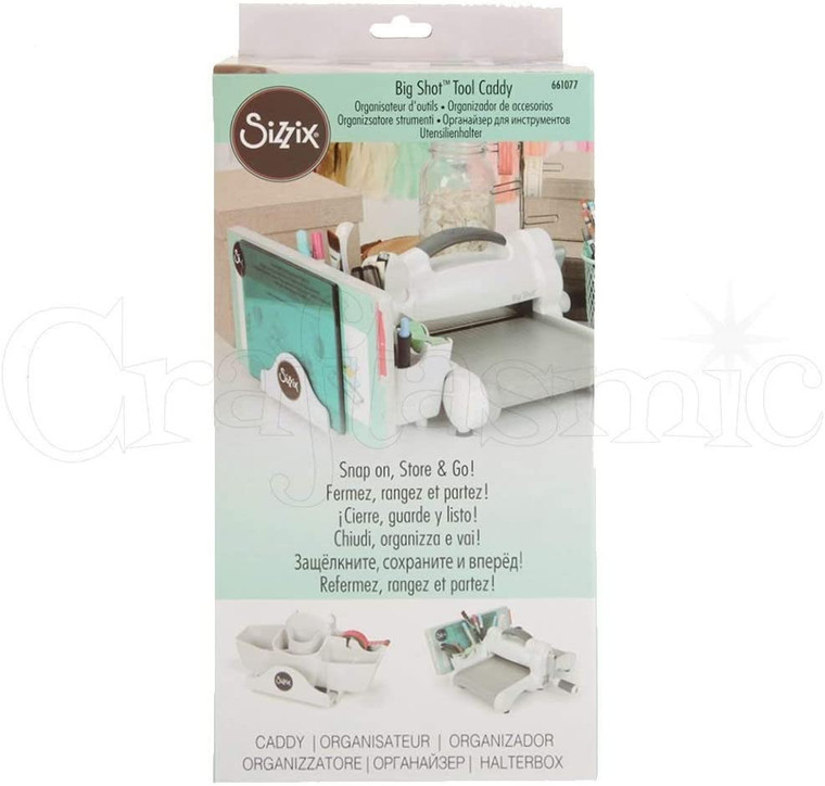 Sizzix Big Shot Accessory - Tool Caddy - White - One Size (661077)  The Big Shot Tool Caddy is an excellent addition to your Big Shot or Big Shot Express Machine if you are looking for storage.  It's lightweight and stable, and the Big Shot Tool Caddy is your storage solution. This handy snap-on accessory can be easily added to and removed from your machine.  It's perfect for organizing your Cutting Pads and Platforms with adjustable sliders, as well as storing everything from die picks, die brush, other tools and more.  It has a built-in, adjustable tape dispenser which adds even more storage possibilities by holding standard-sized tapes as well as your low tack, decorative washi tape.