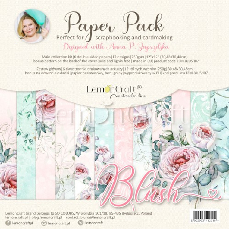 Lemoncraft -Blush - Set of scrapbooking papers 30x30cm (LEM-BLUSH07)  Set contains 6 double-sided papers, 12 designs - 1 piece per design, 250gsm. Bonus pattern at the back of the cover.