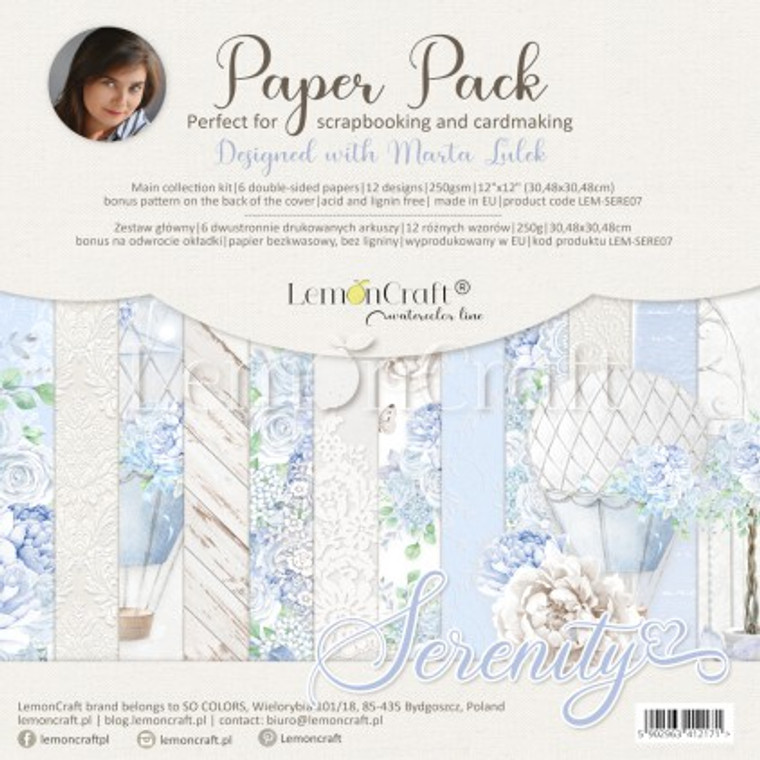 Lemoncraft -Serenity - Set of scrapbooking papers 30x30cm (LEM-SERE07)  Set contains 6 double-sided papers, 12 designs - 1 piece per design, 250gsm. Bonus pattern at the back of the cover.