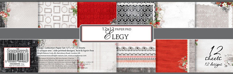 Scrapberry's Paper Collection Set - Elegy - 12x12 - 180GSM - 12 Sheets (SCB220604300b) The Perfect Start To Your Scrapbooks, Cards And More! This Package Contains 12 sheets 12X12 Inch Single Sided Sheets in assorted Designs.  180 gsm.  Acid And Lignin Free.
