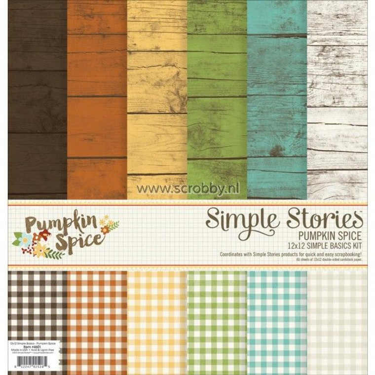 """Pumpkin Spice - 6pcs of 12 x 12 - Simple Basics Kit - Simple Stories (4601) Simple Stories 4601 - 12"""" x 12"""" Paper Simple Basics Kit (Pumpkin Spice). The creative crafter can come up with any number of uses for this themed set of cardstock. The double-sided patterns offer a sort of rustic wood design on one side, and on the other gingham. Save on the Simple Stories Pumpkin Spice Basics kit. 6 double-sided sheets.  Dimensions = 12"""" x 12"""""""