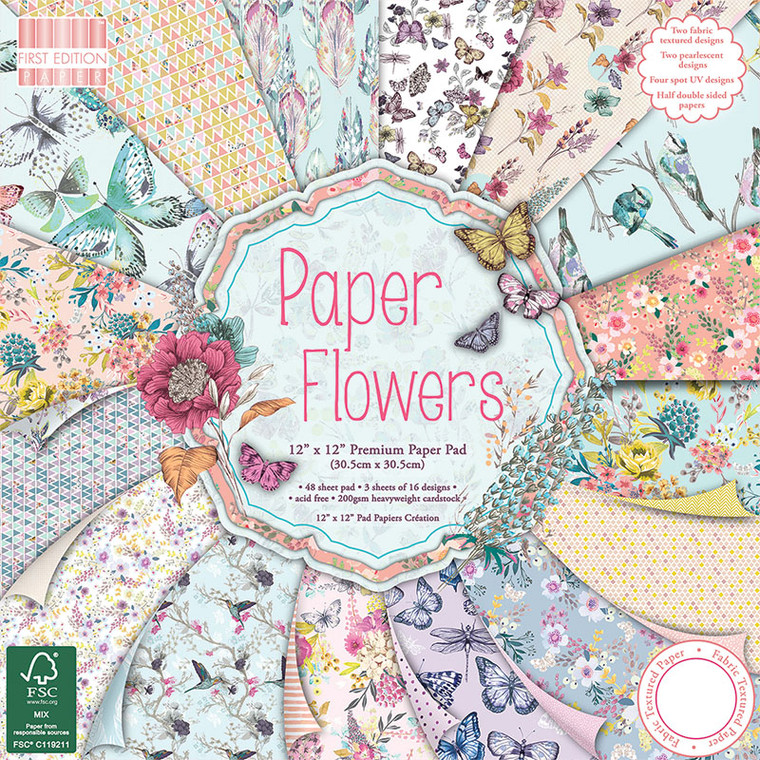 "First Edition Paper Flowers 12""x 12"" FSC Pad - 48 Sheets (FEPAD093) 48 sheets of 12""x 12"" paper with pearlescent, fabric texture and UV effects, half double sided designs. FSC certified (C119211), acid and lignin free. Be captivated by the intricate hand drawn and hand painted designs that make up First Edition Paper Flowers. A delightful array of delicate butterflies and floral blooms with a contemporary colour palette. Designed by Yorkshire based surface pattern design Louise Tiler, this papercraft collection will be a delight to craft with."