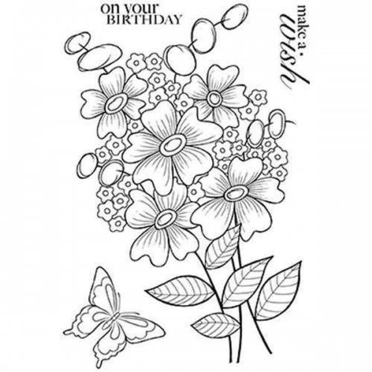 Woodware Clear Magic  Singles - Bold Blooms - Beatrice (JGS596)  Polymer stamps are ready to mount on an acrylic block.  Packaged size A6 approx.