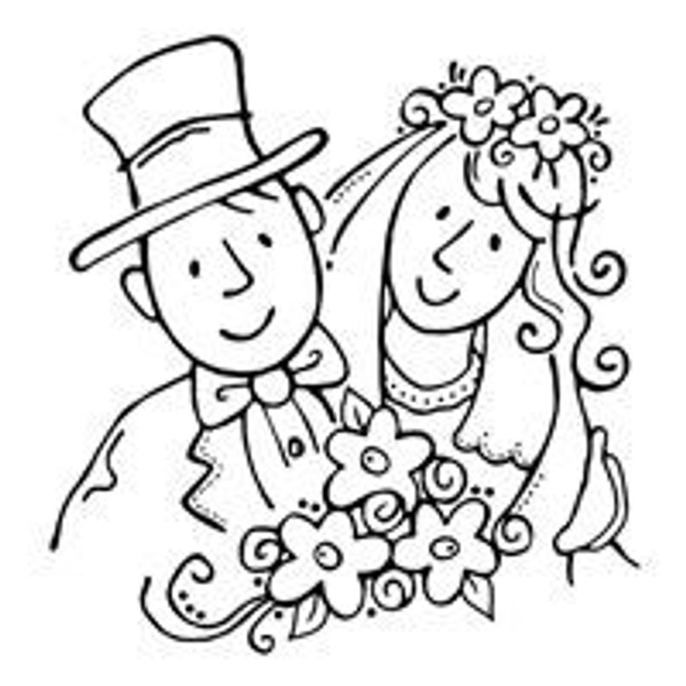 Woodware Clear Magic Singles - Bride and Groom (FRS003)  Polymer stamps are ready to mount on an acrylic block.
