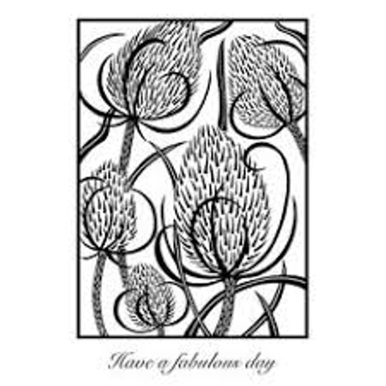 Woodware Clear Magic Singles - Lino Cut - Teasels  (JGS628)  Polymer stamps are ready to mount on an acrylic block.  Packaged size A6 approx.