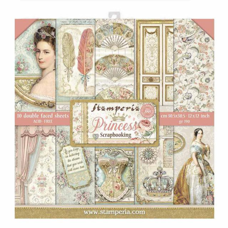 Pre - Order - Stamperia Princess 12 x 12 (10 Double Sided Sheets)(SBBL75)  Size: 12 x 12 190 GSM Acid and Lignin free Made in Italy