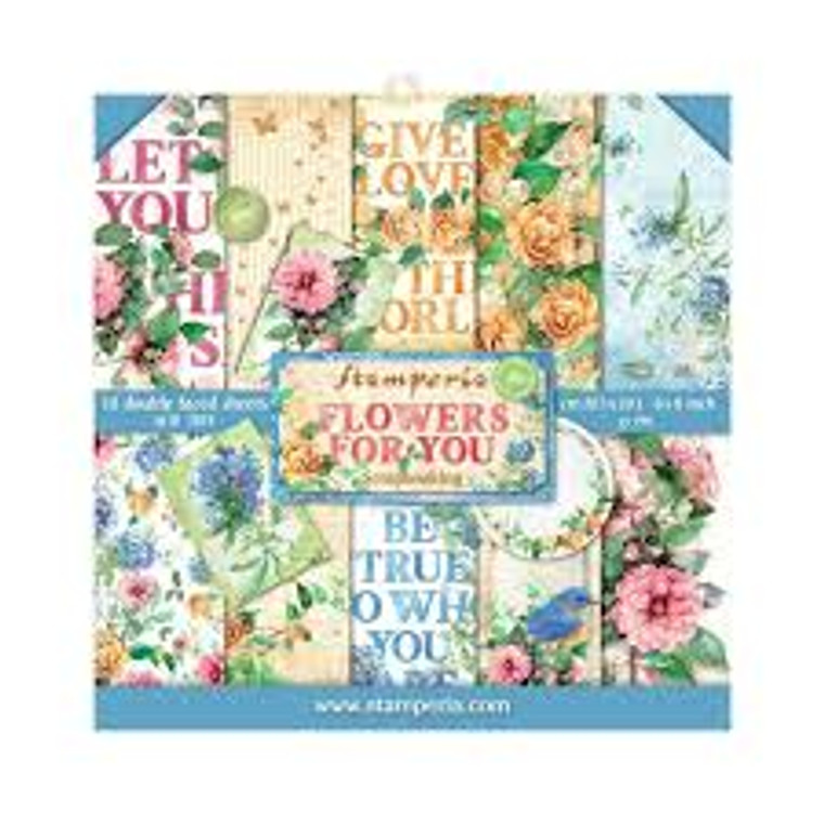 """Stamperia - Flowers for You - 8x8 Inch Paper Pack (SBBS05) Stamperia exclusive designs. Paper Pad with 10 double-sided patterned paper. Thickness: heavyweight paper 190 g/m² Size: 8 """"x 8"""" - 20.3x20.3cm. Acid & lignin free. Made in Italy."""