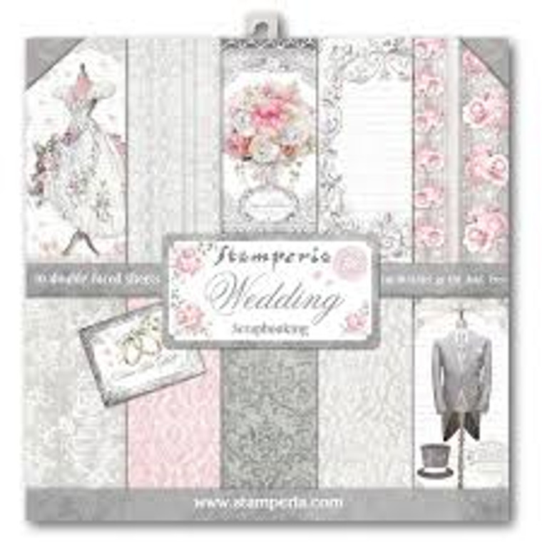 """Stamperia - Wedding - 12"""" x 12"""" Paper Pad (SBBL18) Stamperia exclusive designs. Paper Pad with 10 double-sided patterned paper. Thickness: heavyweight paper 170 g/m² Size: 12 """"x 12"""" - 30,48 x 30,48 cm, Features: Acid & lignin free. Made in Italy"""