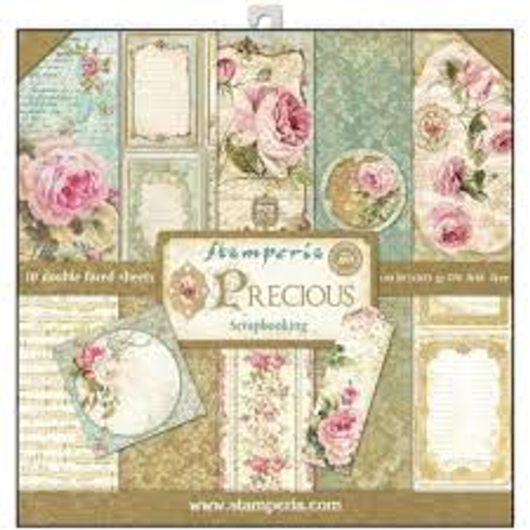 """Stamperia - Precious - 12x12 Paper Pad (SBBL24) Stamperia exclusive designs. Paper Pad with 10 double-sided patterned paper. Thickness: heavyweight paper 170 g/m² Size: 12 """"x 12"""" - 30,48 x 30,48 cm, Features: Acid & lignin free. Made in Italy"""
