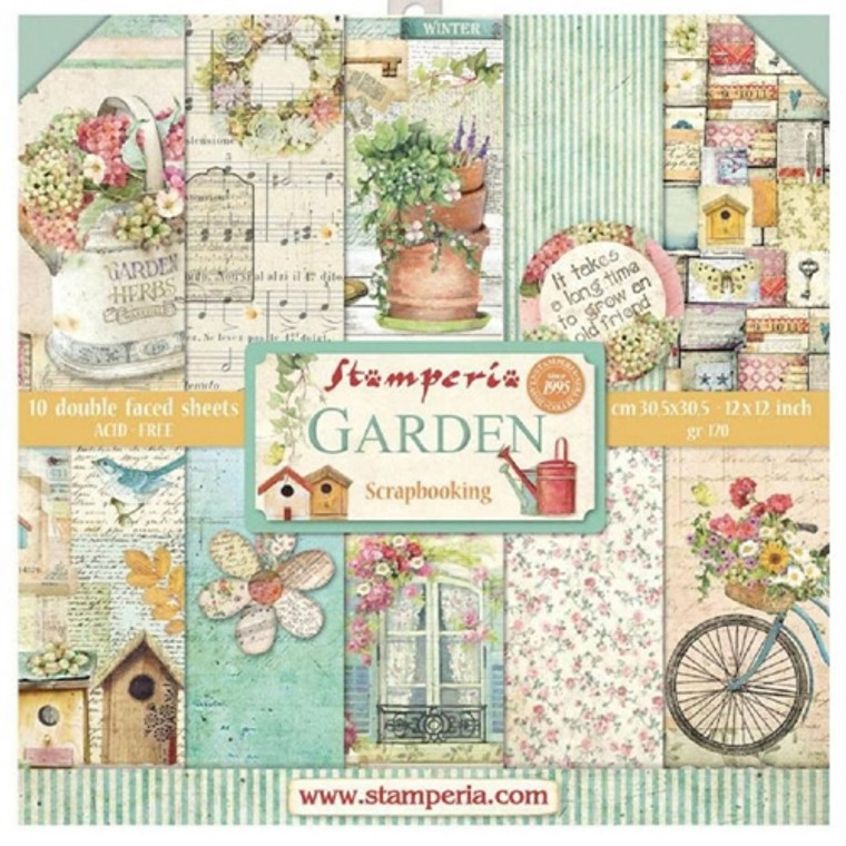 """Stamperia - Garden - 12""""x12"""" Paper Pad (SBBL43) Stamperia exclusive designs. Paper Pad with 10 double-sided patterned paper. Thickness: heavyweight paper 170 g/m² Size: 12 """"x 12"""" - 30,48 x 30,48 cm, Features: Acid & lignin free Made in Italy."""