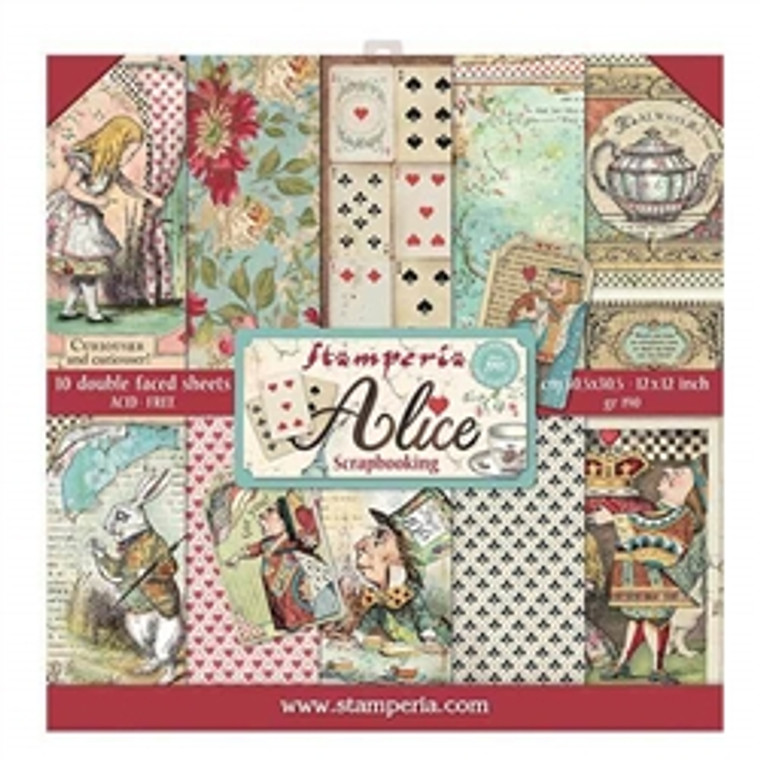 """Stamperia - Alice - 12""""x12"""" Paper Pad (SBBL52) Stamperia exclusive designs. Paper Pad with 10 double-sided patterned paper. Thickness: heavyweight paper 170 g/m² Size: 12 """"x 12"""" - 30,48 x 30,48 cm, Features: Acid & lignin free Made in Italy."""