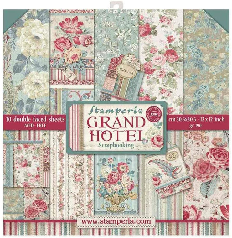 """Stamperia - Grand Hotel - 12""""x12"""" Paper Pad (SBBL57) Stamperia exclusive designs. Paper Pad with 10 double-sided patterned paper. Thickness: heavyweight paper 170 g/m² Size: 12 """"x 12"""" - 30,48 x 30,48 cm, Features: Acid & lignin free Made in Italy."""