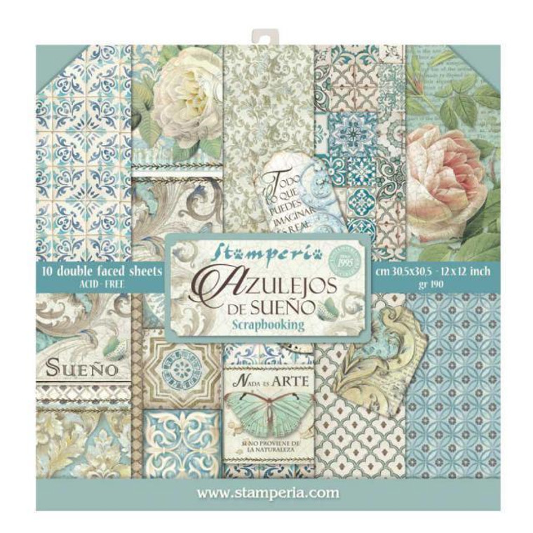 """Stamperia - Azulejos de Sueno - 12""""x12"""" Paper Pad (SBBL55) Stamperia exclusive designs. Paper Pad with 10 double-sided patterned paper. Thickness: heavyweight paper 170 g/m² Size: 12 """"x 12"""" - 30,48 x 30,48 cm, Features: Acid & lignin free Made in Italy."""