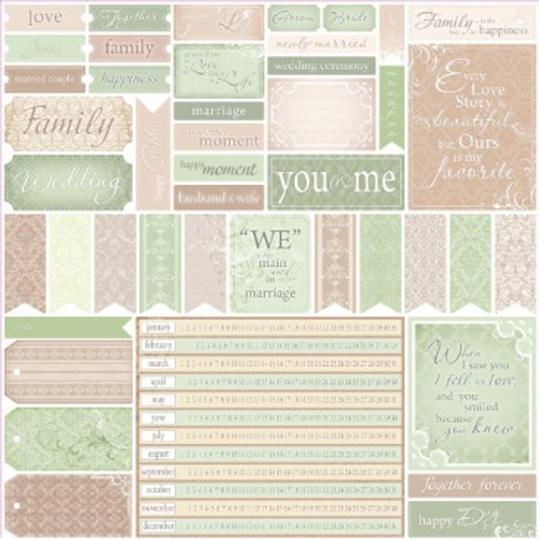 """(SCB220602625b) This sheet is from Scrapberry's """"For Wedding"""" Collection, and is ideal for your Wedding Themed Cards. Use this sheet or others from the collection to create, Wedding albums (scrapbooking), Wedding Cards, Photo Frames, Gift Boxes, and more.  Single Sided Sheet 12"""" x 12"""" , 180gsm. Acid And Lignin Free."""