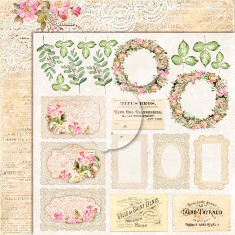 Lemoncraft - House Of Roses 12 x 12 (LP-HOUSE02)  A selection of elements to cut out and add to your cards and projects.