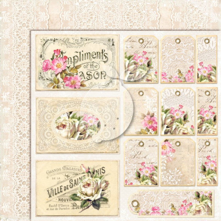 Lemoncraft - House Of Roses - 12x12 Elements (LP-HOUSE04)  A selection of elements to cut out and add to your cards and projects.  Dimensions a single sheet 30,5 x30, 5cm (12 x12 inches)
