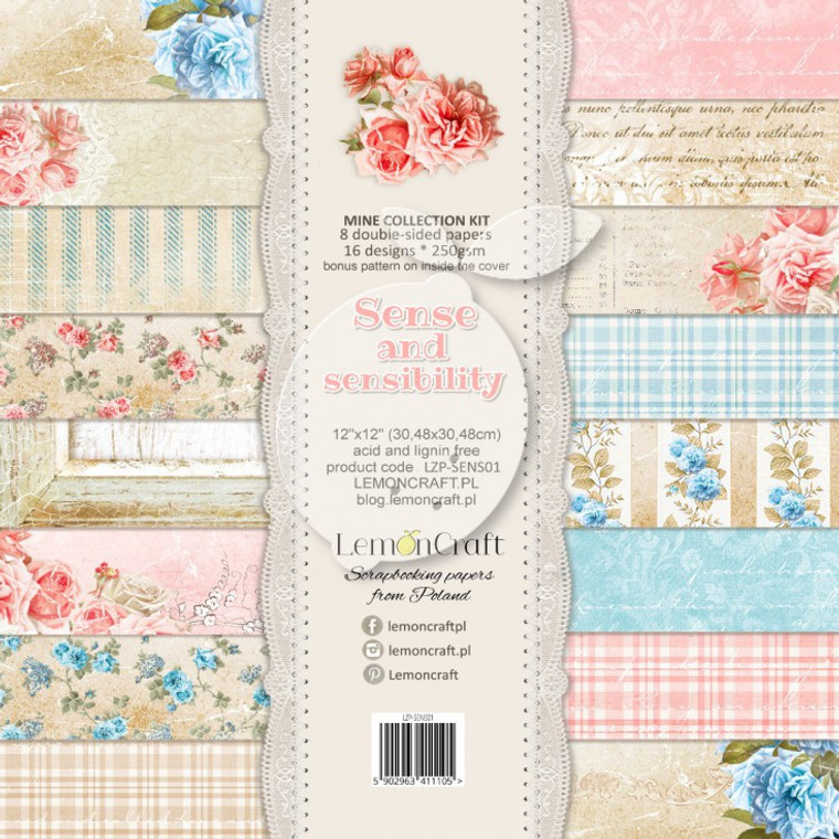 Lemoncraft - Sense And Sensibility set of scrapbooking papers 30x30cm (LZP-SENS01)  Set contains 8 double-sided papers, 12 designs - 1 piece per design, 250gsm. Bonus pattern at the back of the cover.