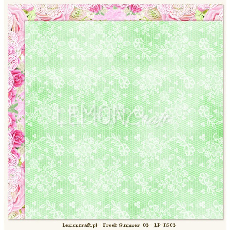 Lemoncraft - Fresh Summer 06 - Double Sided 12 x 12 (LP-FS06)  High-quality paper for scrapbooking and other craft techniques. Perfect for making layouts, albums and greeting cards or invitations.   Acid-free and lignin-free, with a weight of 200g, printed on two side in a charming, romantic patterns.  Dimensions a single sheet 30,5 x30, 5cm (12 x12 inches), plus a strip with the name.