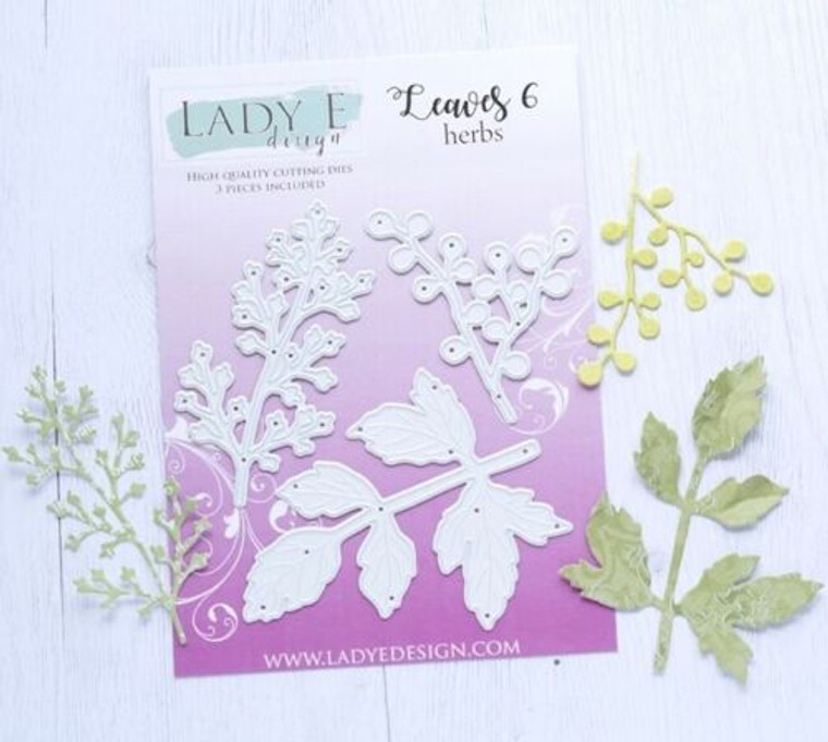 Lady E Design - Leaves 6 Herbs, Cutting Dies Set  High Quality Cutting Dies, used in most die cutting machines. Create beautiful paper, foam, foamiran leaves in various sizes for your cards, crafts, mixed media projects! Set include 3 dies Sizes: 4.7x6.2cm, 4.7x7.7cm, 8.2x6.2cm