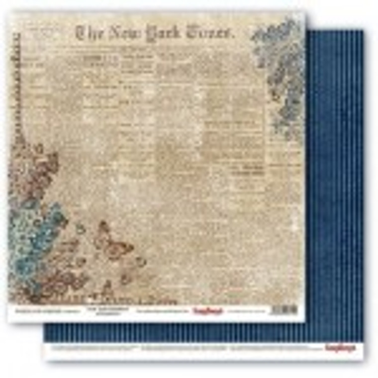 """Scrapberry's Double-sided paper, 12x12, 190 gsm, Words Live Forever Collection - New York Headlines (1 sheet) (SCB220609301)  Scrapberry's Double-sided design paper ideal for scrapbooking, making models, dressing boxes, decorating cards and much more. Size: 12""""x12"""", 1 sheet; 190gsm.Acid & Lignin Free."""