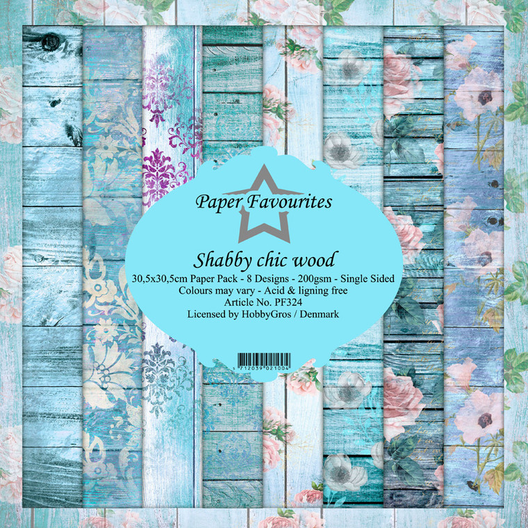 Paper Favourites - Shabby Chic Wood 12x12 Inch Paper Pack (PF324)  Design paper for projects like card making, scrapbooking, or home decor. Shabby Chic Wood 12x12 Inch Paper Pack containing 8 single sided sheets with 8 separate designs. 200gsm.  Acid & Lignin free.