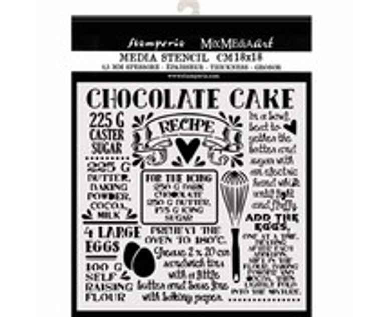 Stamperia Thick Stencil 18x18cm Chocolate Cake (KSTDQ59)  Mix Media Art Thick Stencil. 12x25cm, 0.25mm thick. This template is suitable for a variety of projects. Flexible and strong material. Use on fabrics, wood, cardboard, paper, metal, plastic and more. Ideal for 3D effects, spray and mix media.