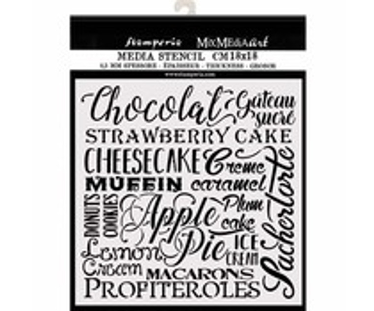 Stamperia Thick Stencil 18x18cm Chocolate (KSTDQ61)  Mix Media Art Thick Stencil. 18x18cm, 0.25mm thick. This template is suitable for a variety of projects. Flexible and strong material. Use on fabrics, wood, cardboard, paper, metal, plastic and more. Ideal for 3D effects, spray and mix media.