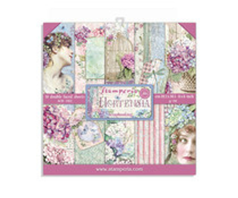 "Stamperia - Hortensia - 8x8 Inch Paper Pack (SBBS15)  Stamperia exclusive designs. Paper Pad with 10 double-sided patterned paper. Thickness: heavyweight paper 190 g/m² Size: 8 ""x 8"" - 20.3x20.3cm. Acid & lignin free. Made in Italy."