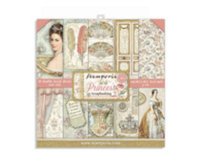 "Stamperia - Princess - 8x8 Inch Paper Pack (SBBS18)  Stamperia exclusive designs. Paper Pad with 10 double-sided patterned paper. Thickness: heavyweight paper 190 g/m² Size: 8 ""x 8"" - 20.3x20.3cm. Acid & lignin free. Made in Italy."