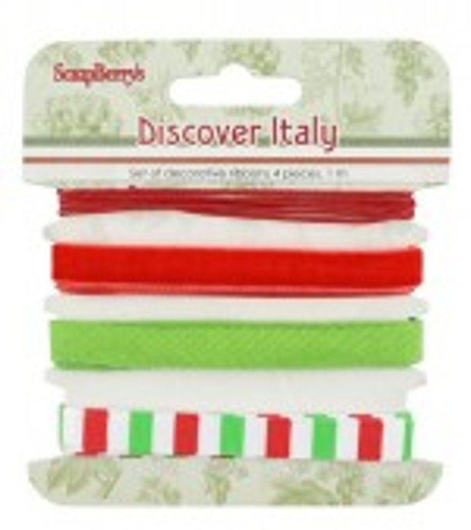 Scrapberry's - Set of decorative ribbons Italian holidays, 4 pcs. 1m each (SCB390521)  Scrapberry's Discover Italy Collection - Set of textile tapes with various patterns. 4 different ribbons, 1m each. Ribbons can be used in a variety of ways, as embellishments on your cards, scrapbooking, gifts and other craft projects.