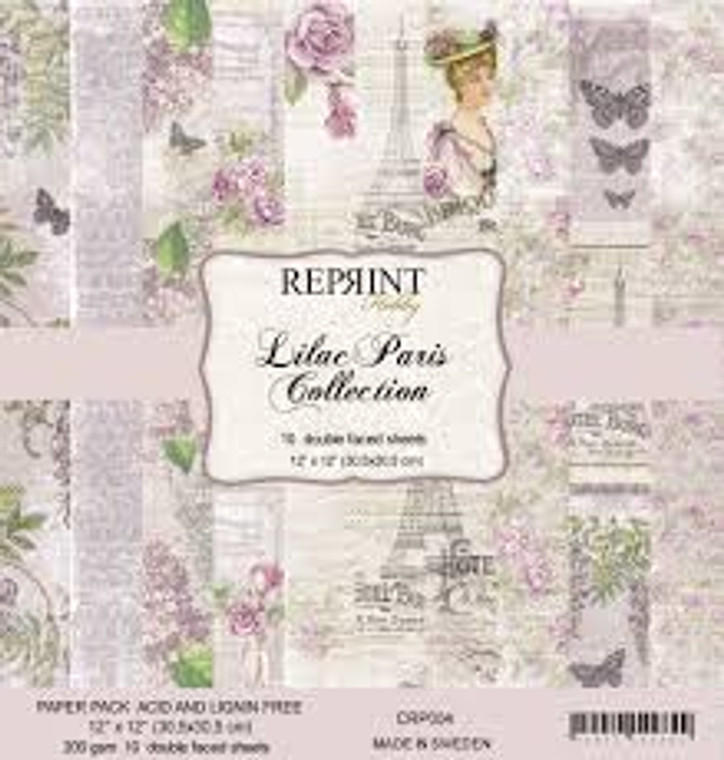 Reprint Lilac Paris 12x12 Inch Paper Pack (CRP004)  Swedish collection design paper for projects like scrapbooking, making cards or home decor. Pack contains 10 double sided sheets.  Acid & lignin free, 200gsm.