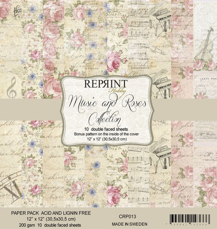 Reprint Music & Roses 12x12 Inch Paper Pack (CRP013)  Swedish collection design paper for projects like scrapbooking, making cards or home decor. Pack contains 10 double sided sheets.  Acid & lignin free, 200gsm.