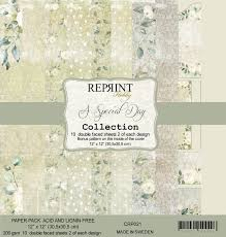 Reprint A Special Day 12x12 Inch Paper Pack (CRP021)  Swedish collection design paper for projects like scrapbooking, making cards or home decor. Pack contains 10 double sided sheets.  Acid & lignin free, 200gsm.