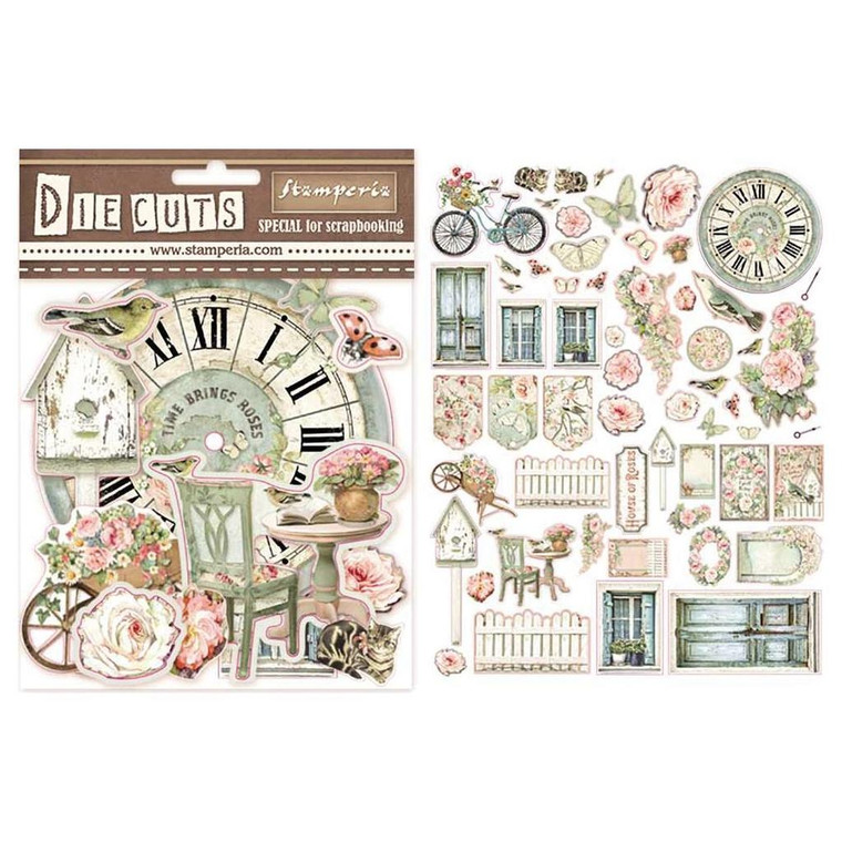 Stamperia - House of Roses - Die Cut Assortment  (DFLDC03)  You can use these themed die cuts from Stamperia on your scrapbook pages, cards, or mixed media projects. They are made of chipboard and are approximately 1.5mm thick.  They will add dimension and design to all your craft projects. Package contains 59 pieces.