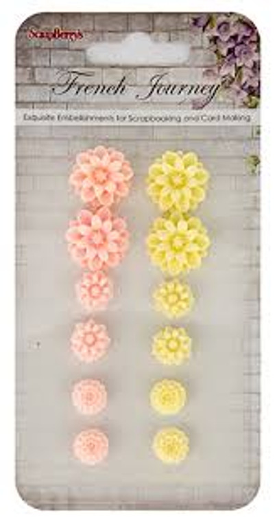 Scrapberry's - Set of chrysanthemums - French Journey 2 (resin) - 12 pcs - (SCB250001093)  Scrapberry's pack of 12 resin embellishments. French Journey 2 Collection, set of chrysanthemums. These items are not toys, and are not suitable for children.  They are designed for use as embellishments in all your scrapbooking projects, card making and much more.