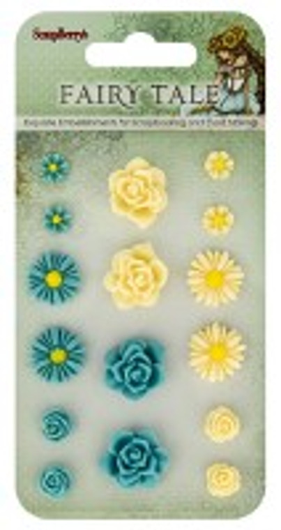 Scrapberry's - Set of flowers, Fairy Tale 1 (resin) - 16 pcs - (SCB250002018)  Scrapberry's pack of 16 resin embellishments. Set of flowers is their Fairy Tale 1 Collection.  These items are not toys, and are not suitable for children.  They are designed for use as embellishments in all your scrapbooking projects, card making and much more.