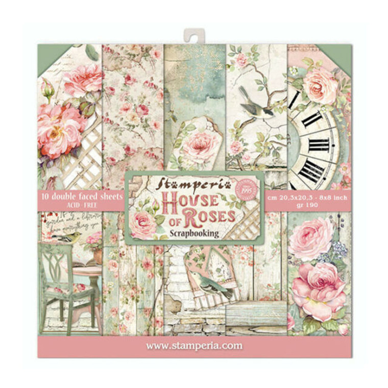 """Stamperia - House of Roses - 8x8 Inch Paper Pack (SBBS08)  Stamperia exclusive designs. Paper Pad with 10 double-sided patterned paper. Thickness: heavyweight paper 190 g/m² Size: 8 """"x 8"""" - 20.3x20.3cm. Acid & lignin free. Made in Italy."""