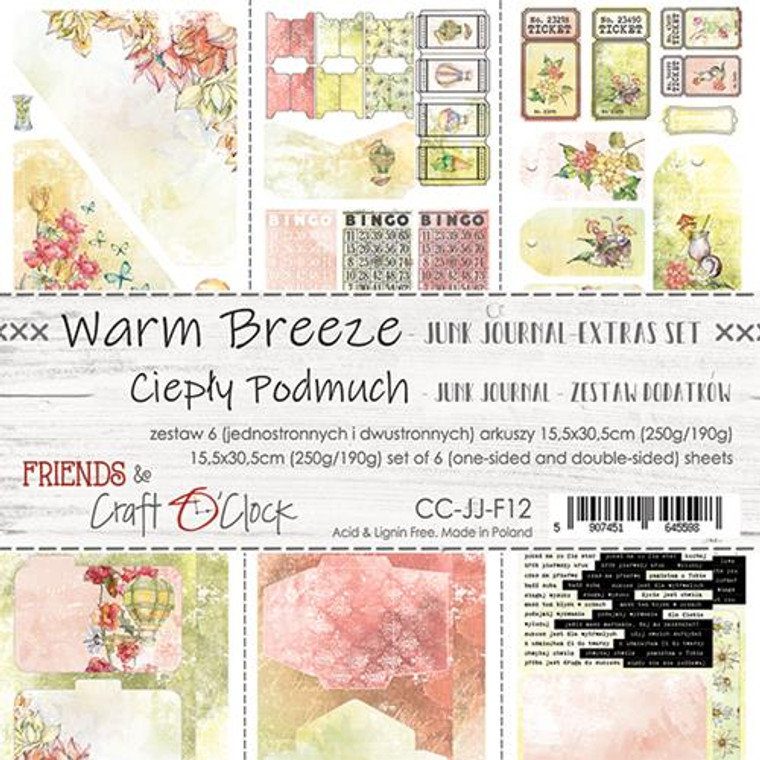 Craft O'Clock - Junk Journal Extras Set - Warm Breeze (CC-PL-VB-F3)  Junk Journal Set, Warm Breeze Collection. Each Sheet Size 15.5 x 30.5cm. Pack contains 6 pieces, 3 Single sided, 250g, and 3 double sided, 190g.