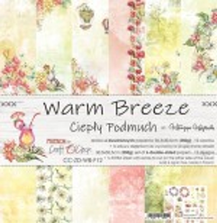 """Craft O'Clock - Paper Collection Set - 12""""x12"""" Warm Breeze - 250 gsm, 12 designs, bonus design on back of the cover)  A set of 6 double-sided pages.  Warm Breeze Collection (12 patterns) of high quality scrapbooking paper.  Each page is 12x12 inches or 30.5x30.5cm.  The paper weight is 250gsm.  This product is acid and lignin free."""