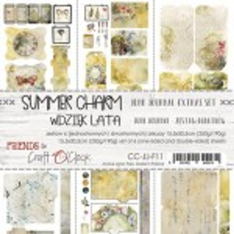 Craft O'Clock - Junk Journal Set - Summer Charm - 6 Pcs. (CC-JJ-F11)  Junk Journal Set, Summer Charm Collection. Each Sheet Size 15.5 x 30.5cm. Pack contains 6 pieces, 3 Single sided, 250g, and 3 double sided, 190g.  Acid and Lignin free.