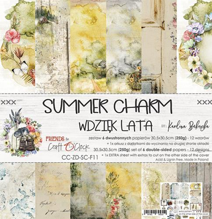 "Craft O'Clock - Paper Collection Set - 12""x12"" Summer Charm - 250 gsm, 12 designs (bonus design on back of the cover) (CC-ZD-SC-F11)  A set of 6 double-sided pages.  Summer Charm Collection (12 patterns) of high quality scrapbooking paper.  Each page is 12x12 inches or 30.5x30.5cm.  The paper weight is 250gsm.  This product is acid and lignin free."
