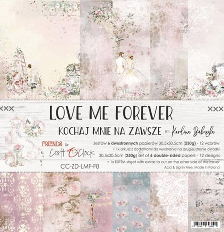 "SOLD OUT! Back in stock next week. Craft O'Clock - Paper Collection Set - 12""x12"" Love Me Forever - 250 gsm, 12 designs, bonus design on back of the cover) (CC-ZD-LMF-F8)  A set of 6 double-sided pages.  Love Me Forever Collection (12 patterns) of high quality scrapbooking paper.  Each page is 12x12 inches or 30.5x30.5cm.  The paper weight is 250gsm.  This product is acid and lignin free."