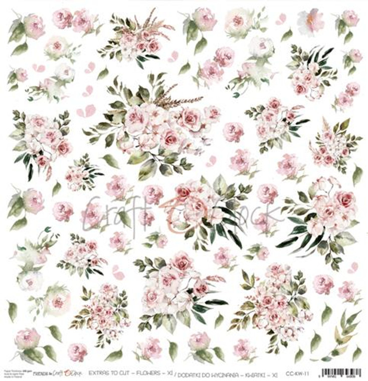 """Craft O'Clock - One-sided paper 12""""*12"""" Flower XI, extras to cut, 250 gsm (1 sheet) (CC-KW-11)  Single sheet of high-quality paper for scrapbooking and other craft projects. Perfect for making scrapbook layouts, albums and greeting cards or wedding invitations etc.  Acid-free and lignin-free.  Single sided paper.  Size: 12x12 inches (30,5x30,5cm)  Weight: 250g / m2."""