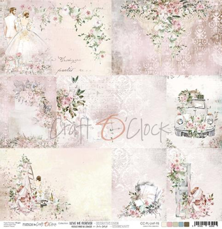 """Craft O'Clock - One-sided paper 12""""*12"""" Love Me Forever Decorative Cards,  250 gsm (1 sheet) (CC-PL-LMF-F8)  Single sheet of high-quality paper for scrapbooking and other craft projects. Perfect for making scrapbook layouts, albums and greeting cards or wedding invitations etc.  Acid-free and lignin-free.  Single sided paper.  Size: 12x12 inches (30,5x30,5cm)  Weight: 250g / m2."""