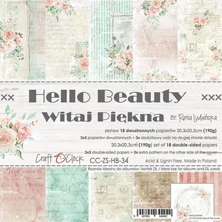 "Craft O'Clock - Paper Collection Set 8"" x 8"" Hello Beauty - 250 gsm, 12 designs, bonus design on back of the cover (CC-ZS-HB-34)  A set of 18 double-sided pages.  Hello Beauty Collection (6 patterns) of high quality scrapbooking paper.  Each page is 8x8 inches or 20.3 x 20.3cm.  The paper weight is 250gsm.  This product is acid and lignin free."