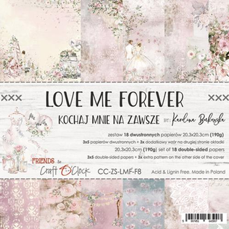 "Craft O'Clock - Paper Collection Set 8"" x 8"" Love Me Forever - 250 gsm, 12 designs, bonus design on back of the cover (CC-ZS-LMF-F8)  A set of 18 double-sided pages.  Love Me Forever Collection (6 patterns) of high quality scrapbooking paper.  Each page is 8x8 inches or 20.3 x 20.3cm.  The paper weight is 250gsm.  This product is acid and lignin free."