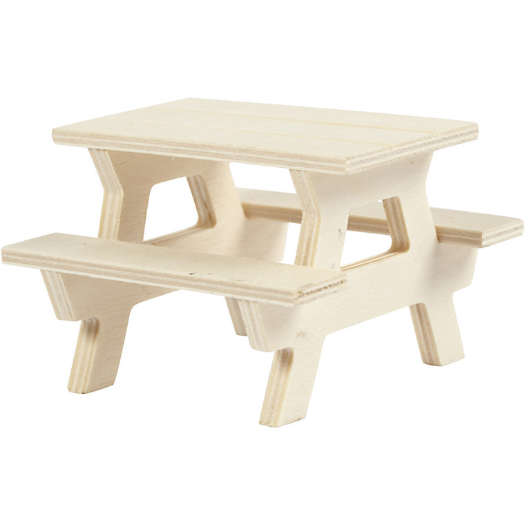 Picnic Bench, L: 8 cm, W: 8 cm, plywood, 1pc, H: 5.5 cm     Small picnic bench in light wood. . L: 8 cm, W: 8 cm, H: 5,5 cm     Can be painted, stained etc.  Also great for dolls houses.