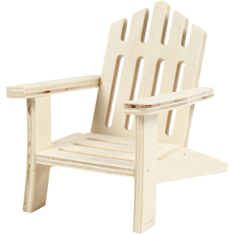 Garden Chair, W: 7.5 cm, depth 9 cm, plywood, 1pc, H: 9 cm     Small garden chair in light wood. . W: 7,5 cm, depth 9 cm, H: 9 cm     Can be painted, stained etc.  Also great for dolls houses.