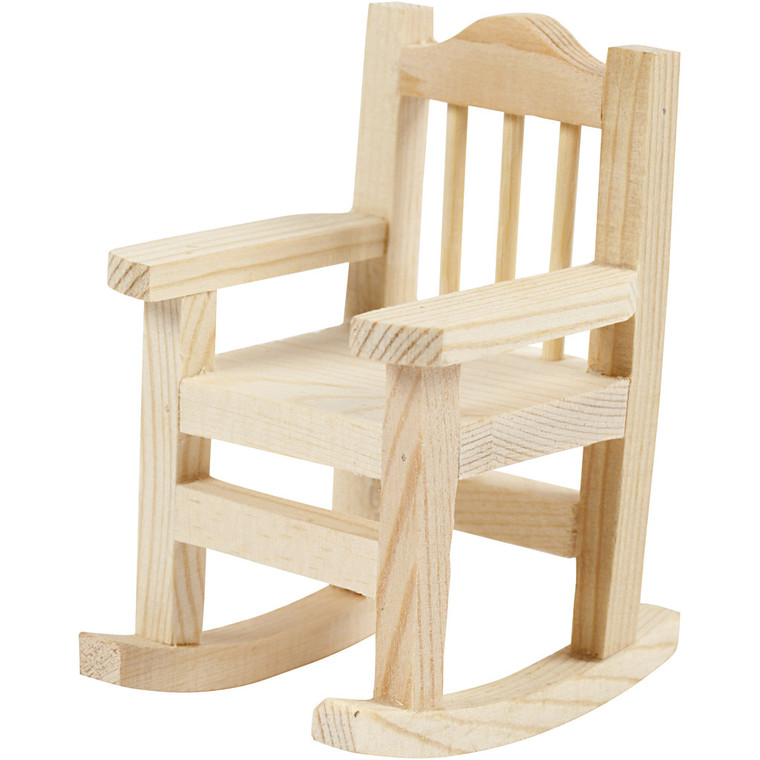 Rocking Chair, Height 8.8cm, Width 5.5cm, Depth 6.7cm, Pine, 1pc (56925) Small Rocking Chair in light wood.  Approximate sizes: H8.8cm, W5.5cm, D6.7cm.  These small pieces of furniture can be painted, stained etc.  They are great for all your craft projects and also great for dolls houses.