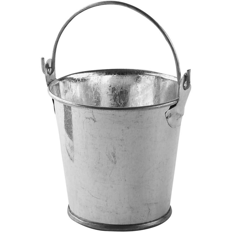 Mini Bucket, Zinc, Moveable Handle, Size 55x50mm, (558861)  Mini Bucket made of Zinc material with moveable handle. Approximate size of each item: 55x50mm. Can be painted, Great for all your projects and great for dolls houses.